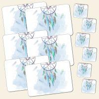 Bedrucktes Tischset 12-teilig Traumfänger Dreamcatcher Blue Blau Geist und Geschenk