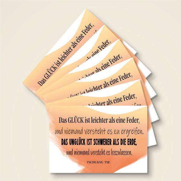 Grusskarten Set 'Das Glück ist leichter als eine Feder'