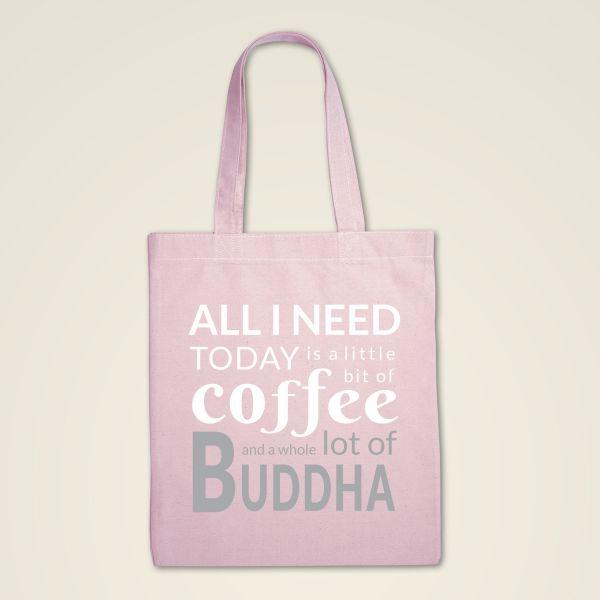Rosa Stoffbeutel Stofftasche bedruckt mit lustigem Spruch Coffee Buddha