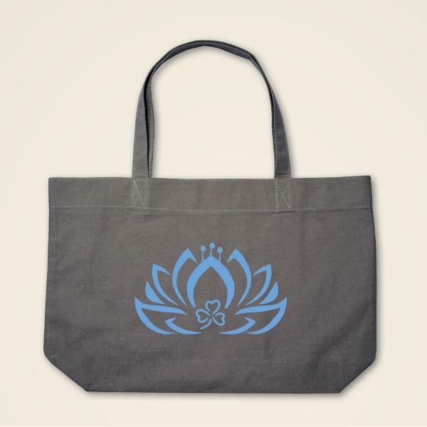 Geist und Geschenk Dreiblatt Lotus Stofftasche Grau blau