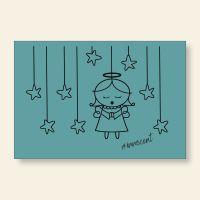 Grußkartenset bedruckt Angel Innocent Blue Geist und Geschenk