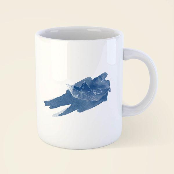 Tasse bedruckt online bestellen origami schiffchen moij design geist und geschenk moin klassisch
