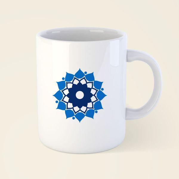 Tasse Becher bedruckt Motiv Mandalablume klassisch blau