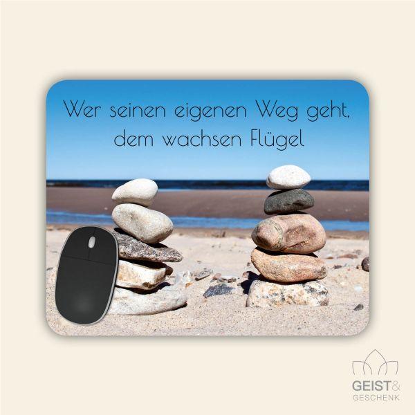 Bedrucktes Mousepad Spruch Gedanken Motivation Geist und Geschenk eckige Form