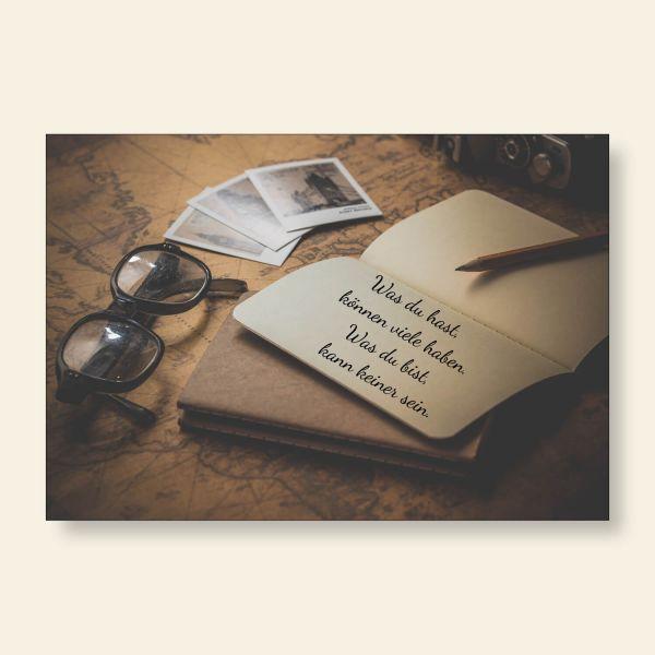 Grußkarte Postkarte Was du hast, können viele haben Gedanken Geist und Geschenk