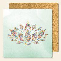 Bedruckte Korkuntersetzer Lotus  Geist und Geschenk eckige Form