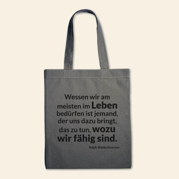 Canvas Stofftasche 'Wessen wir am meisten im Leben bedürfen' Gau,  Schwarz