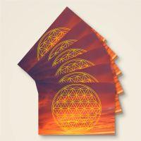 Postkarten Grußkarte Blume des Lebens Motiv Abendhimmel bedruckt Geist und Geschenk Gelb