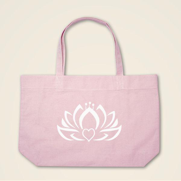 Herzlotus Stofftasche Stoffbeutel bedruckt rosa weiss