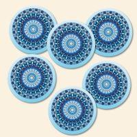 Bedruckte Korkuntersetzer Mandala Blue  Geist und Geschenk runde Form