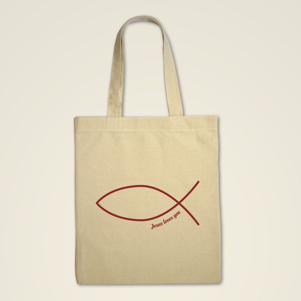 Jesus Stofftasche bedruckt Fischsymbol Baumwolltasche