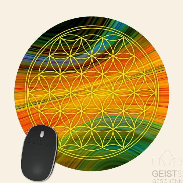 Mousepad-Blume-des-Lebens-Motiv-Spektrum-gelb-bedruckt-1