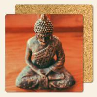 Bedruckte Korkuntersetzer Buddha Pray Geist und Geschenk eckige Form