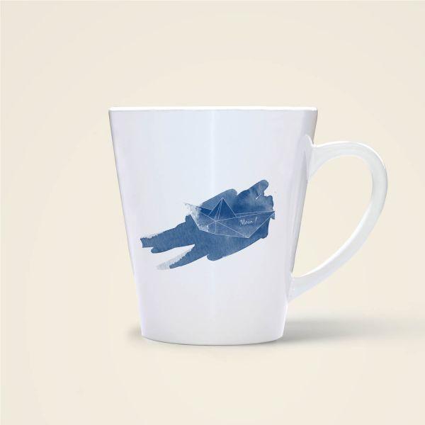 Tasse bedruckt online bestellen origami schiffchen moij design geist und geschenk moin
