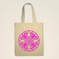 Mandala Stofftasche  Natur bedruckt rosa