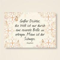 """Grusskarten  Set mit Ringelnatz Zitat """"Rosarote Brille"""""""