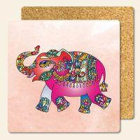 Bedruckte Korkuntersetzer Elefant  Geist und Geschenk eckige Form