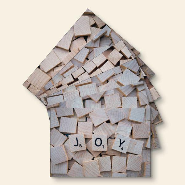 Bedruckte Postkarte Scrabble Hope Family Dream Love Joy Smile Geist und Geschenk