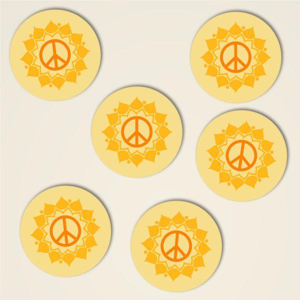 Peace Mandala Anna Dreiblatt Untersetzer Set bedruckt