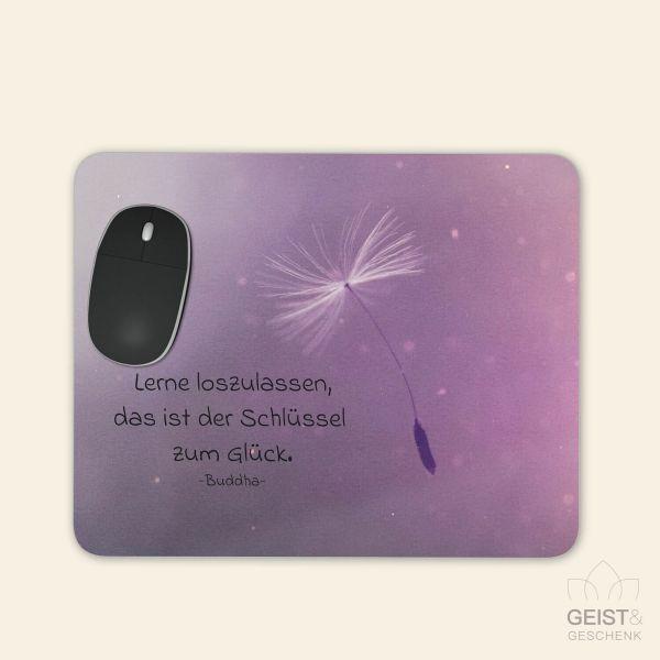 Bedrucktes Mousepad Buddha Zitat Weg zum Glück Geist und Geschenk eckige Form