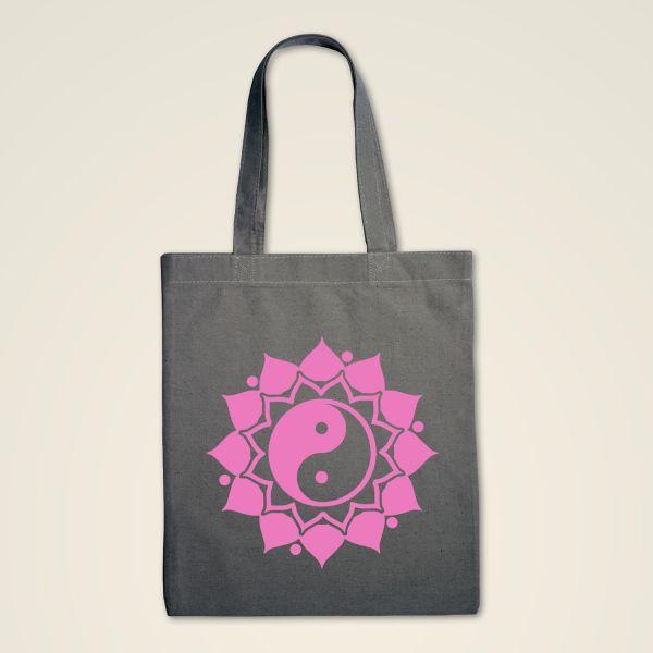 Stofftasche grau 'Ying & Yang' Mandala