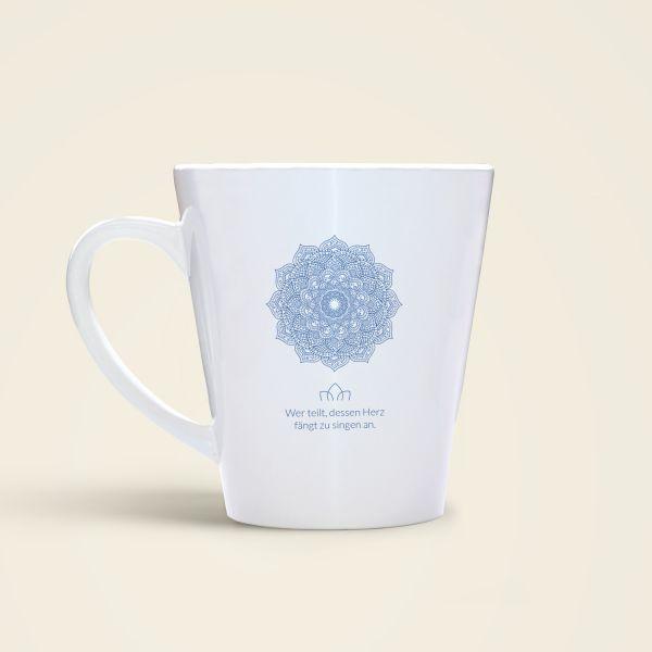 Tasse bedruckt mit schönem Mandala Motiv und geistreichem Zitat