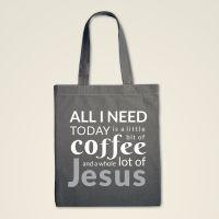 Stofftasche Stoffbeutel bedruckt Jesus Coffee grau