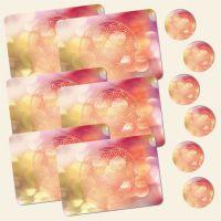 Bedrucktes 12-teiliges Tischset Blume des Lebens Flower of Life Sahasrara Geist und Geschenk