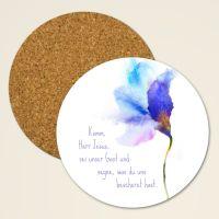 Bedruckte Kork Untersetzer mit christlichem Zitat einzeln blau - Geist und Geschenk
