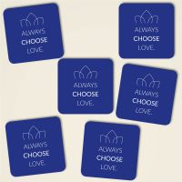 Always choose love farbig eckig blau