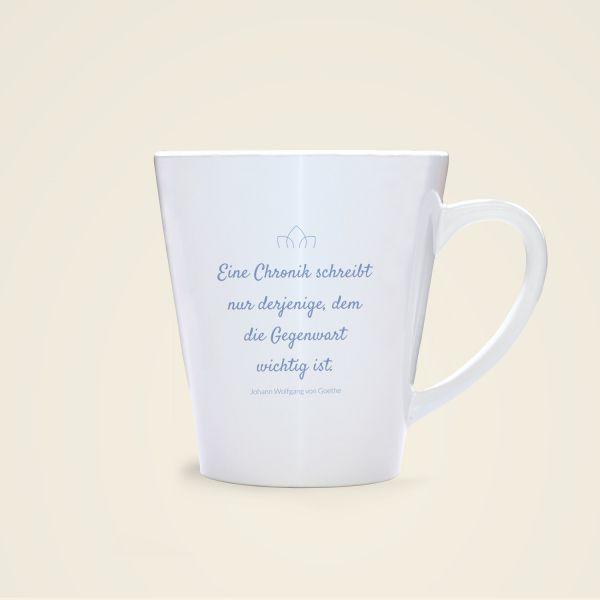 Goethe Zitat auf Tassen gedruckt Geist und Geschenk Rückseite