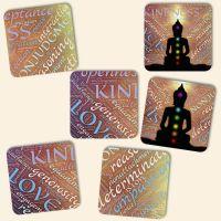 Bedruckte Korkuntersetzer 'Yoga Chakra'   Geist und Geschenk eckige Form