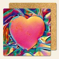 Bedruckte Korkuntersetzer Colorful Heart  Geist und Geschenk eckige Form