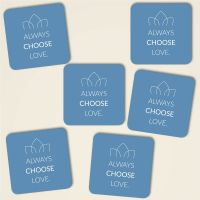 Always choose love farbig eckig tuerkis