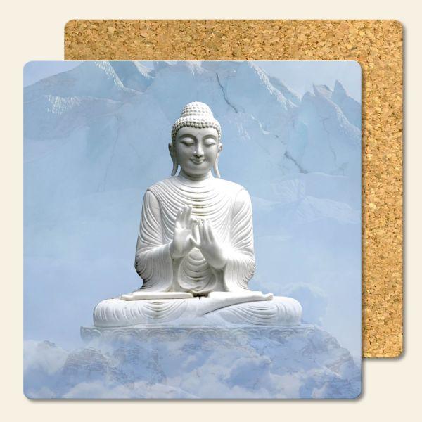 Bedruckte Korkuntersetzer Buddha Sky Geist und Geschenk eckige Form