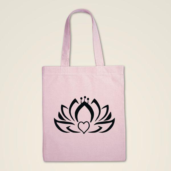 Stofftasche rosa 'Herzlotus'
