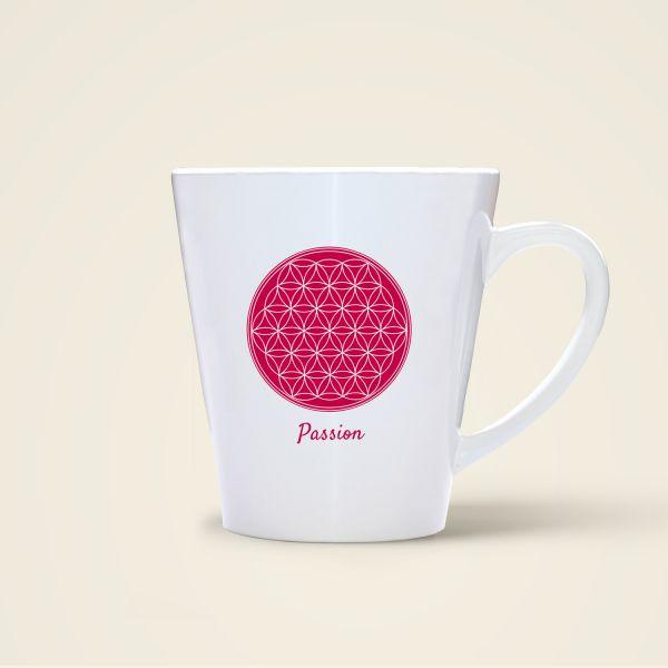 Becher Tasse bedruckt mit Motiv der Blume des Lebens 'Passion'