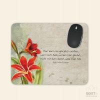 Bedrucktes Mousepad Zitat Ralph Waldo Emerson Glück Geist und Geschenk eckige Form