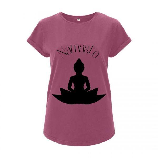 Damen T-Shirt bedruckt Namaste Buddha Geist und Geschenk