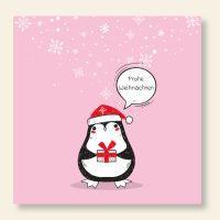Bedrucktes Grußkarten- Set  quadratisch Weihnachten Pinguin Geist und Geschenk