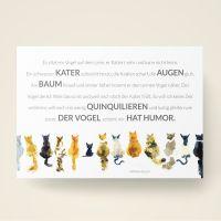 Grusskarten  Set Humor ' Kater - Vogel - Quinquilieren '