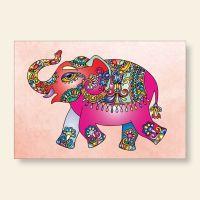 Bedrucktes Grußkarten- Set  Elefant Geist und Geschenk