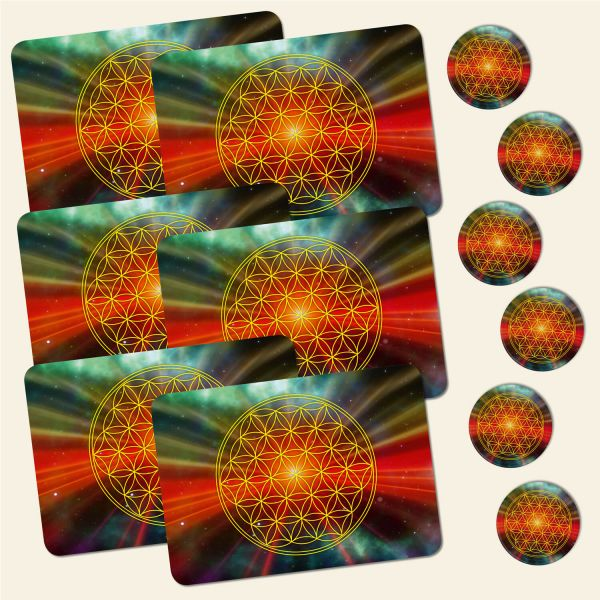 Bedrucktes 12-teiliges Tischset Blume des Lebens Flower of Life Universum Geist und Geschenk