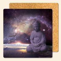 Bedruckte Korkuntersetzer Buddha Galaxy  Geist und Geschenk eckige Form