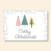 Grußkartenset bedruckt Christmastrees Geist und Geschenk