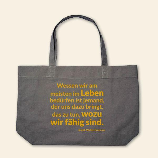 Canvas Stofftasche 'Wessen wir am meisten im Leben bedürfen' Grau, Gelb