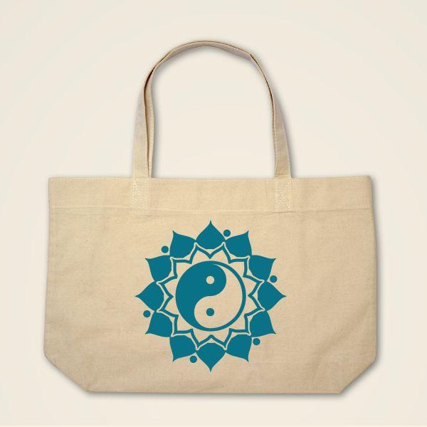 Boatshape Stofftasche Natur 'Ying & Yang' Mandala