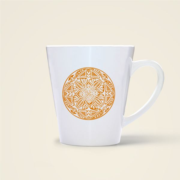 Mandala Shamanic Motiv bedruckte Tasse konisch gelb