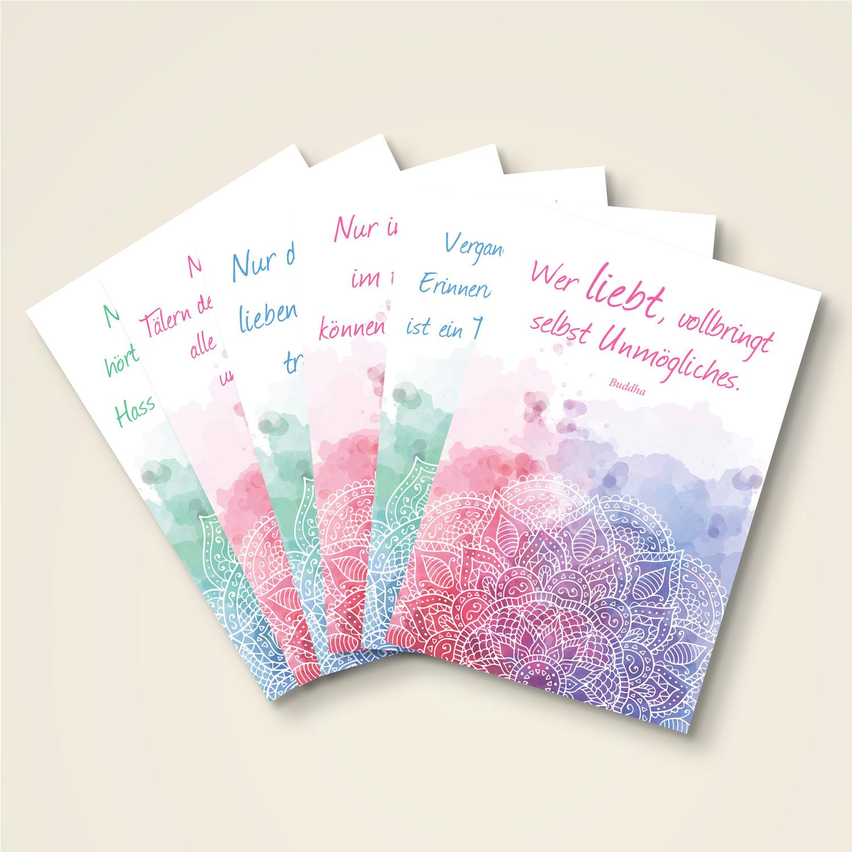 Grusskarten Set 6 Schöne Buddha Zitate
