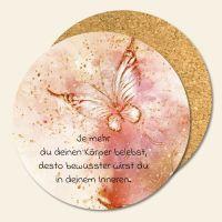 Bedruckte Korkuntersetzer Aquarell Schmetterling Zitat Geist und Geschenk runde Form
